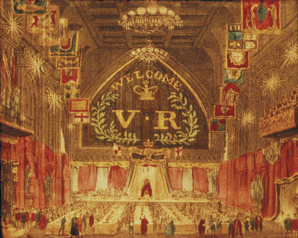 Detail of The banquet given for Queen Victoria at the Guildhall, London by Anonymous