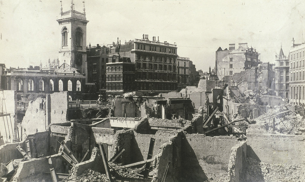 Detail of Holborn Viaduct, City of London, showing air raid damage by Anonymous