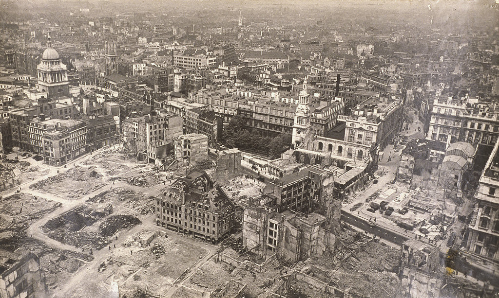 Detail of View of Newgate Street, City of London, showing air raid damage by