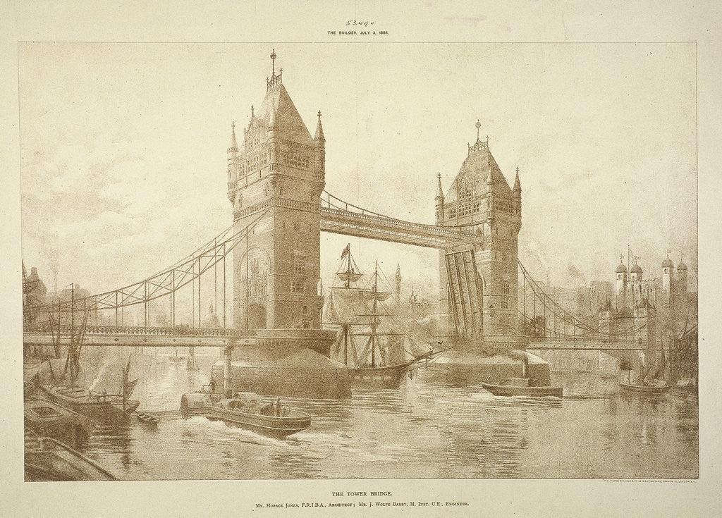 Detail of View of Tower Bridge, London by Anonymous