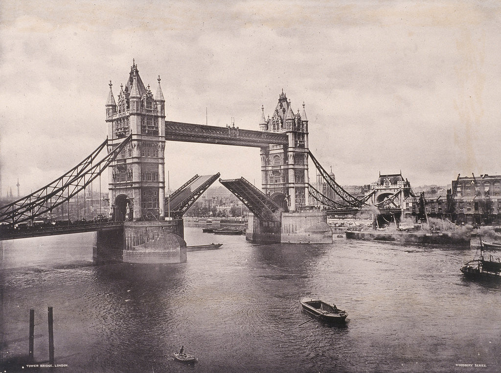 Detail of View of the east side of Tower Bridge, Stepney, London by Anonymous