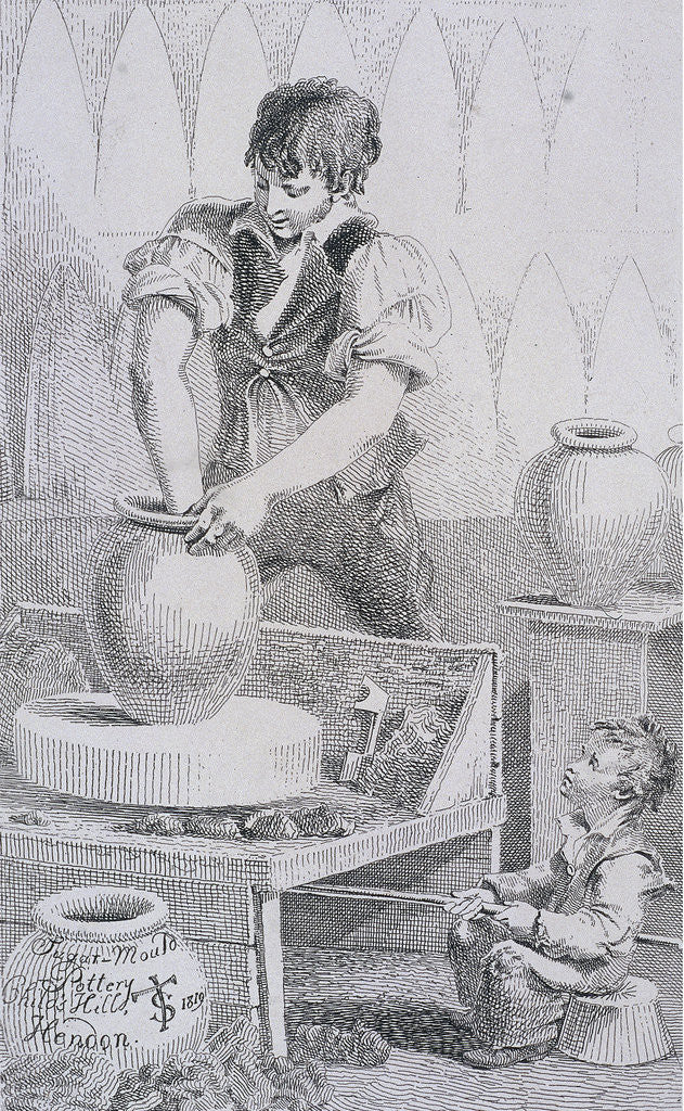 Detail of Potter at work, Cries of London, (c1819?) by
