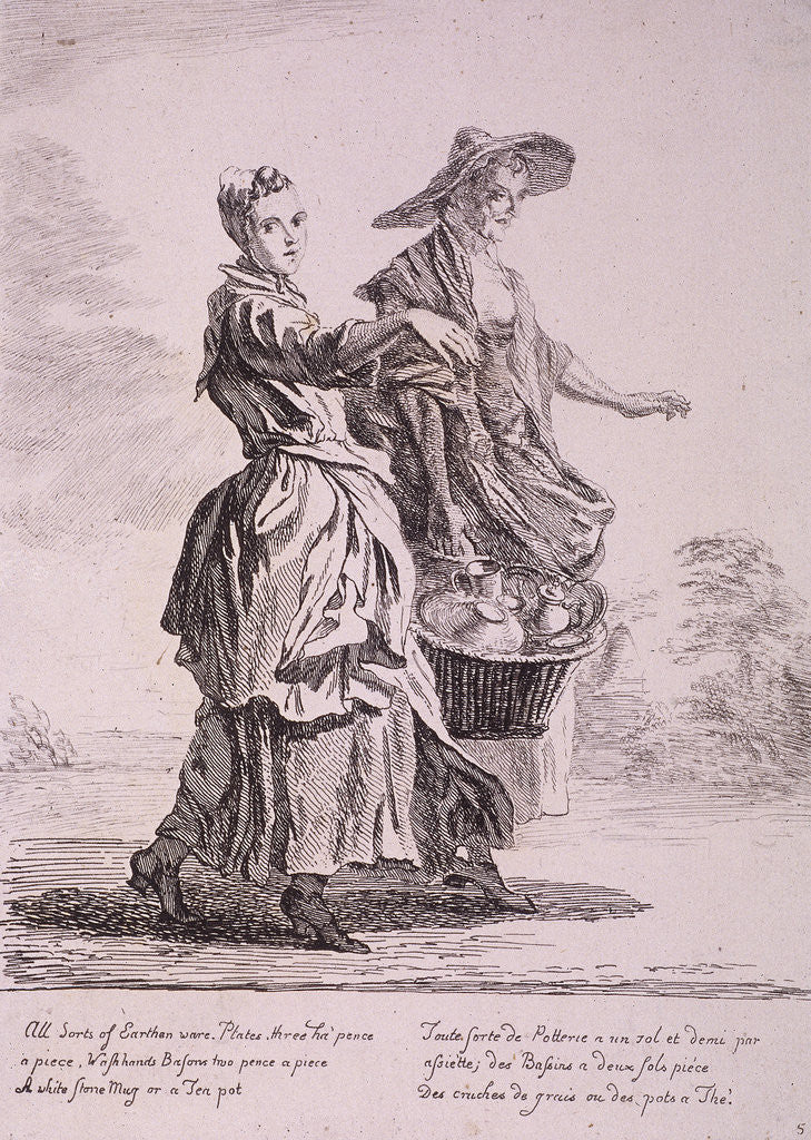 Detail of Two crockery sellers, Cries of London by Paul Sandby