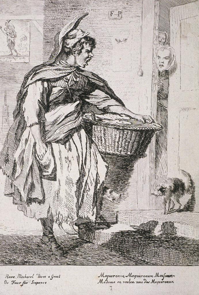 Detail of Mackerel seller, Cries of London by Paul Sandby