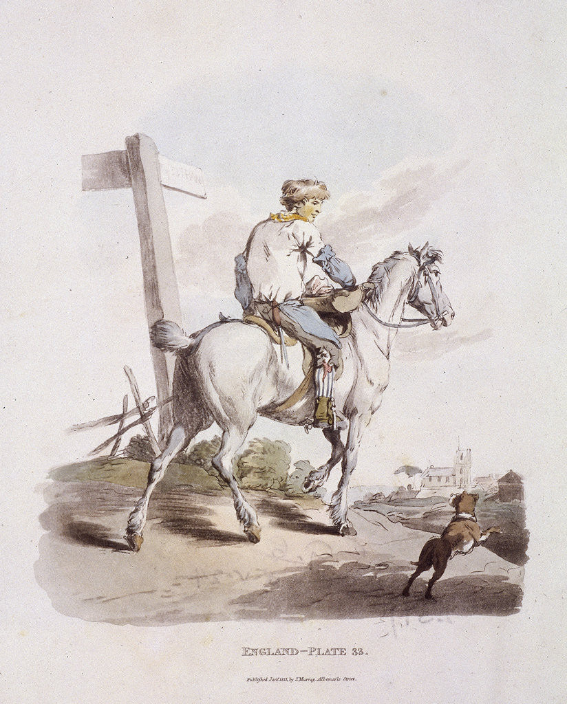 Detail of A butcher's boy riding a horse, Provincial Characters by Anonymous