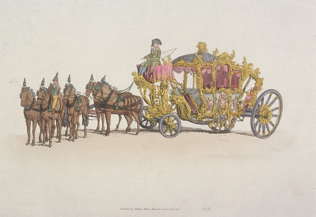 Detail of Lord Mayor's Coach pulled by a team of six horses by Anonymous