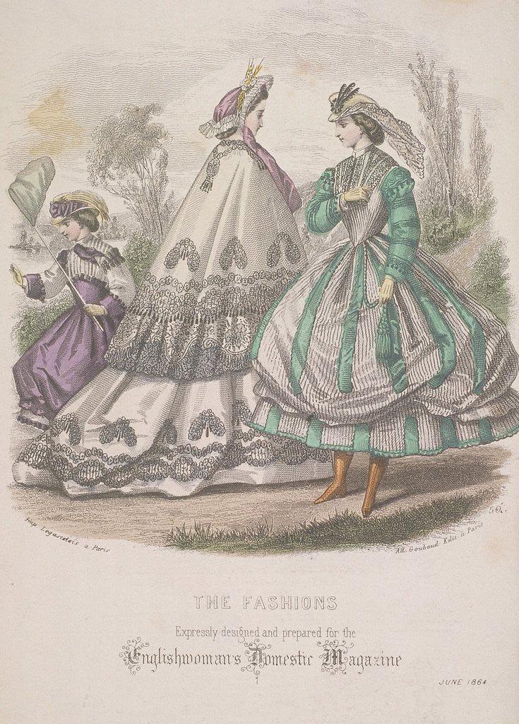 Detail of Two women and a child with a butterfly net model the latest fashions by Anonymous