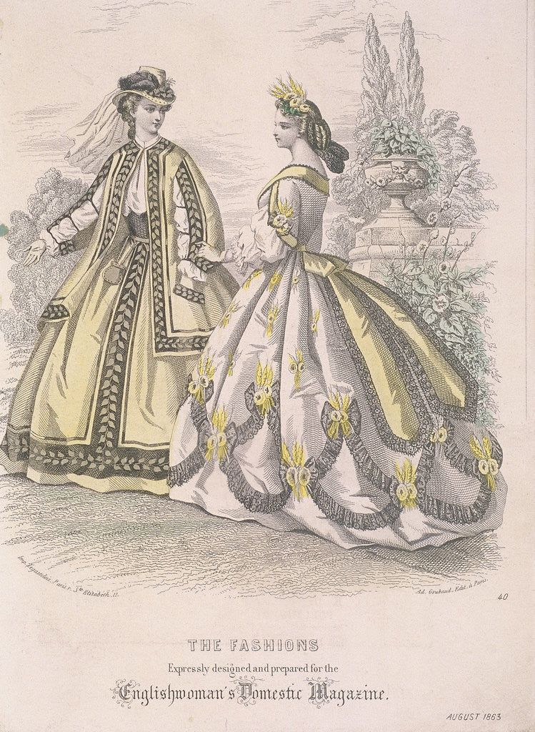 Detail of Two women model the latest fashions by Anonymous