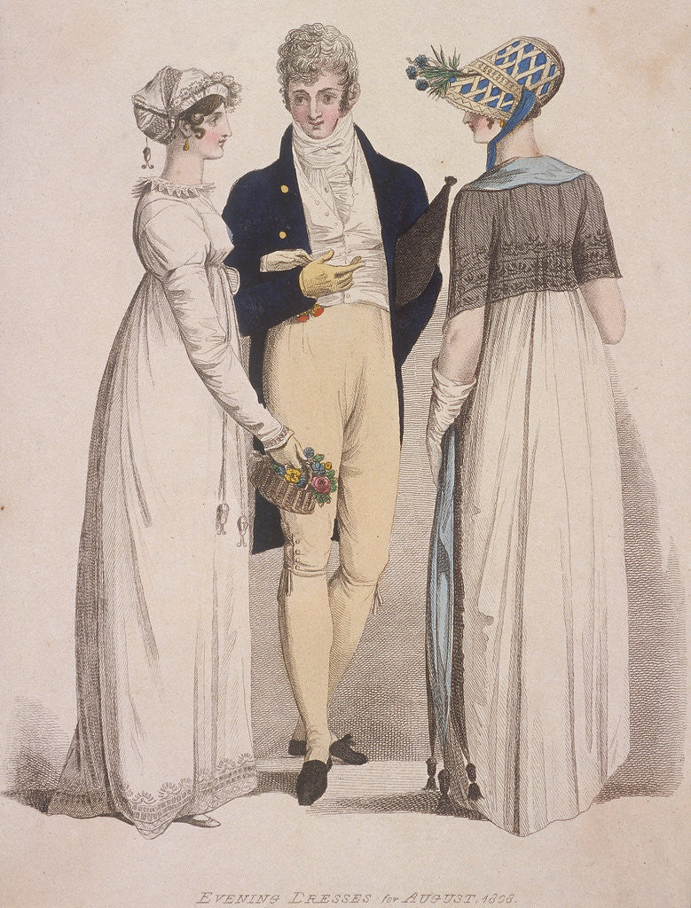 Two women and a man wearing evening dress by W Read
