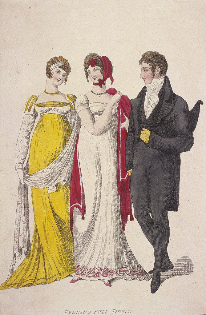 Detail of Two women and a man wearing full evening dress by W Read