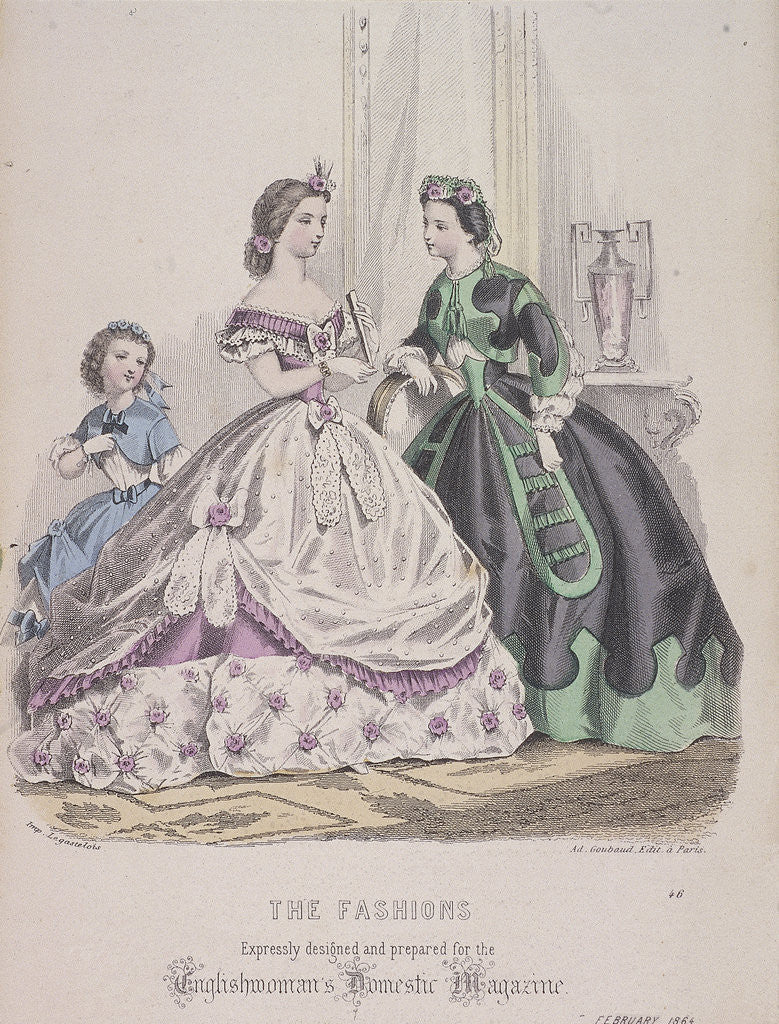 Detail of Two women and a child wearing the latest fashions by Anonymous