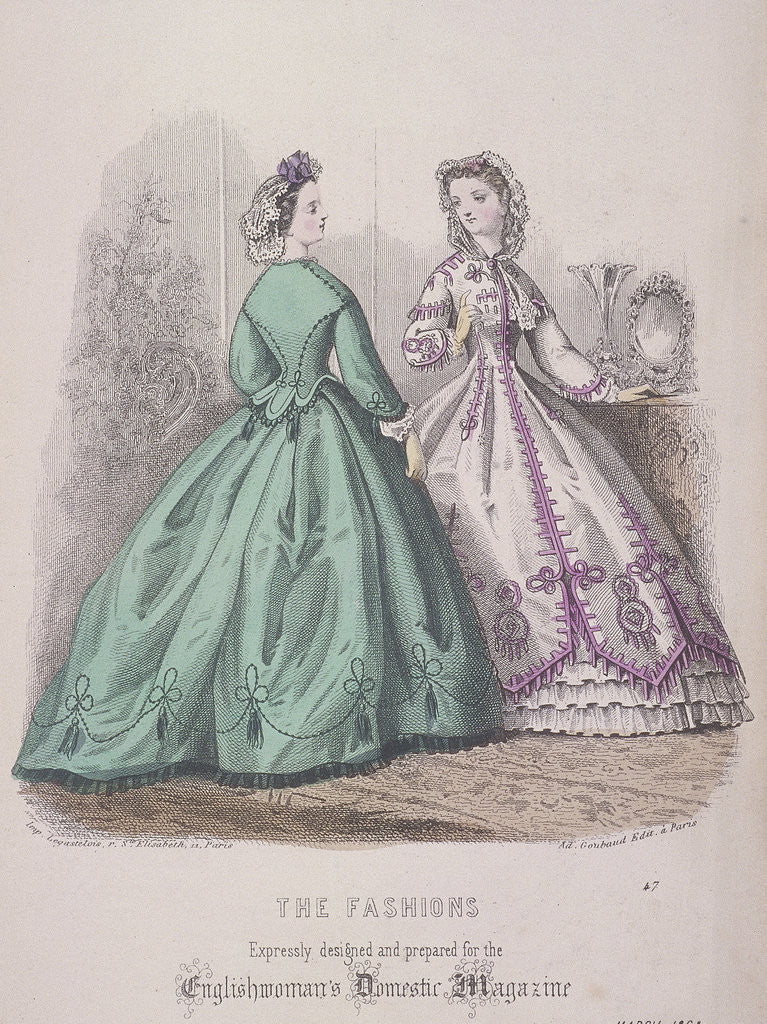 Detail of Two women wearing the latest fashions by