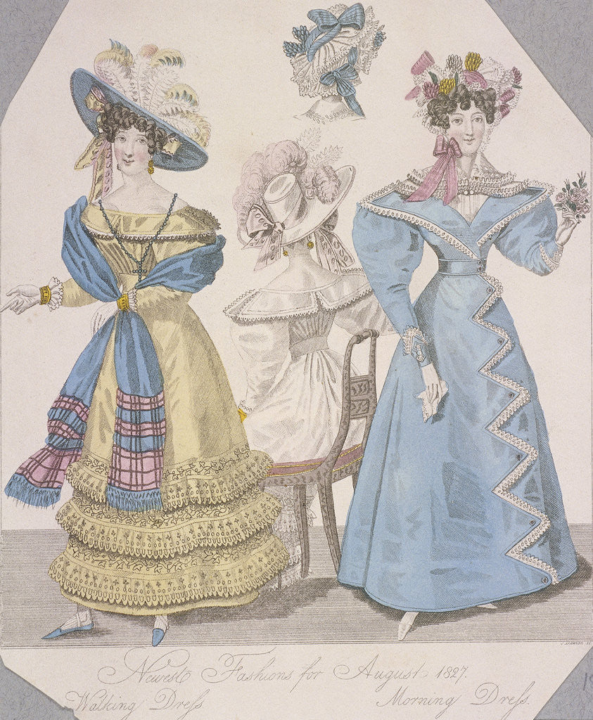 Detail of Two women wearing walking dress and morning dress by Anonymous
