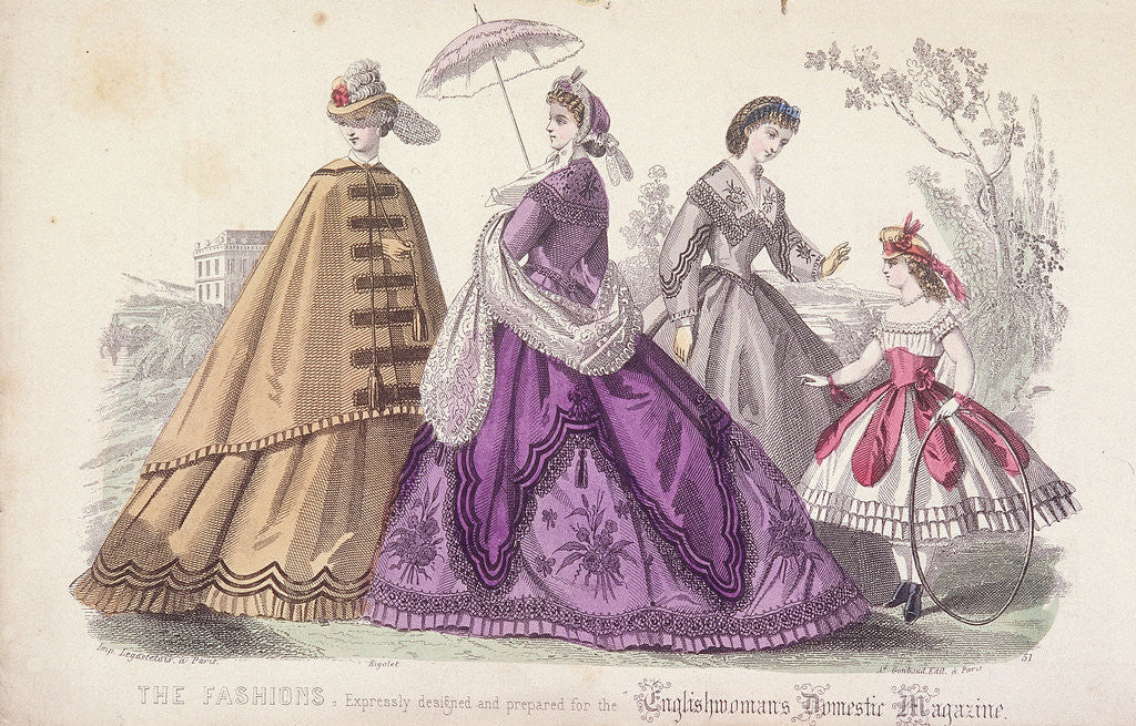 Detail of Three women and a child wearing the latest fashions by Anonymous