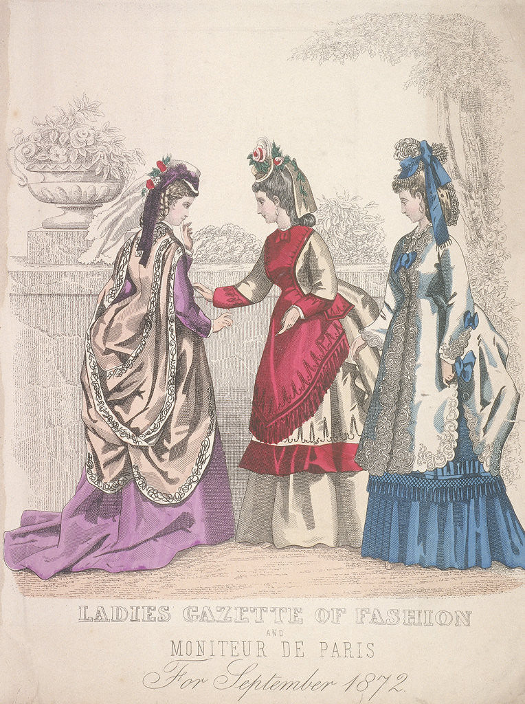 Detail of Two women on the left wearing seaside fashions, the woman on the right wears a garden dress by