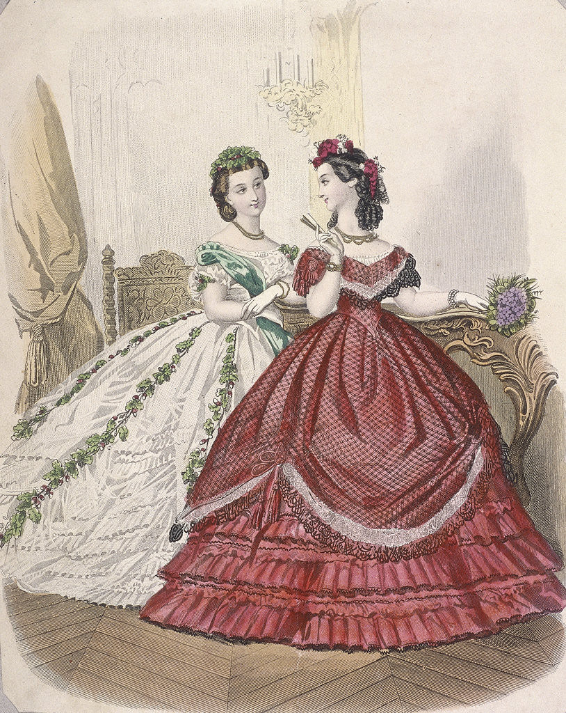 Detail of Two women wearing the latest indoor fashions by Anonymous