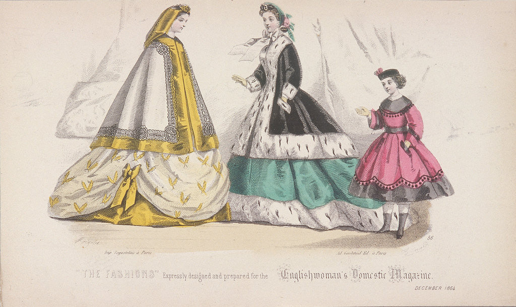 Detail of Two women and a child wearing the latest fashions by