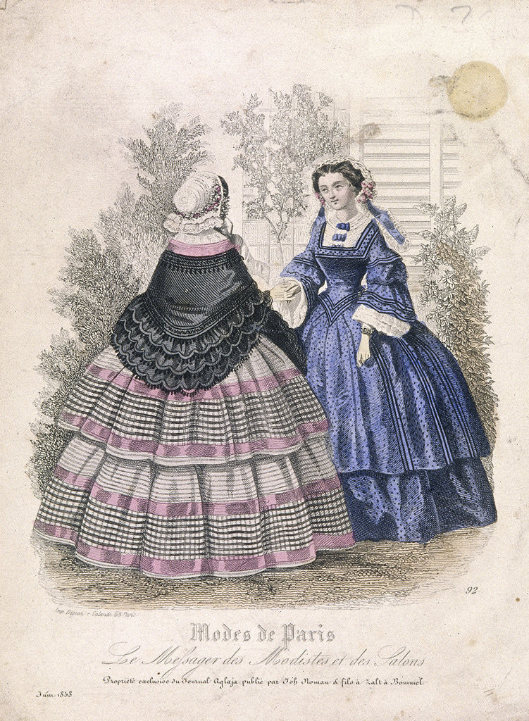 Detail of Two women wearing the latest fashions in a garden setting by Anonymous