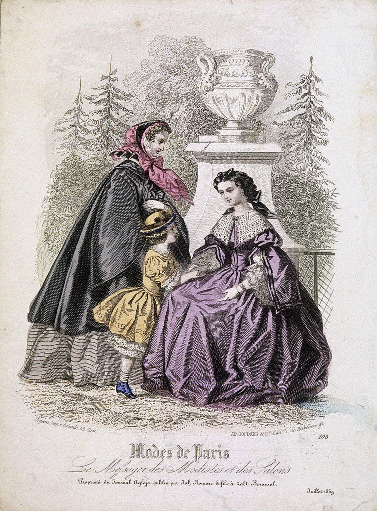Detail of Two women and a child wearing the latest fashions in a garden setting by Anonymous