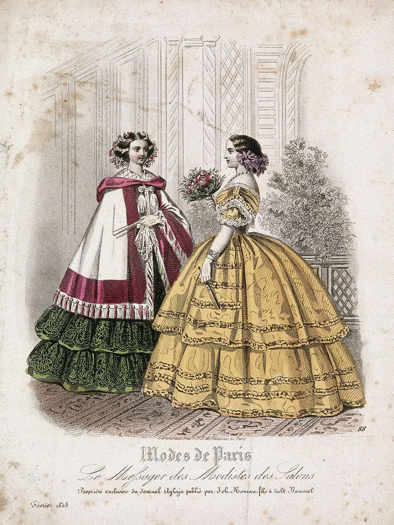 Detail of Two women wearing the latest fashions by Anonymous