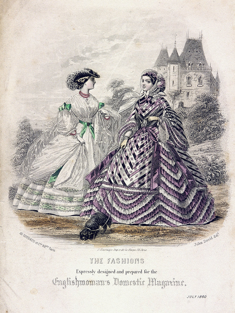 Detail of Two women wearing the latest fashions in an outdoor setting by Anonymous