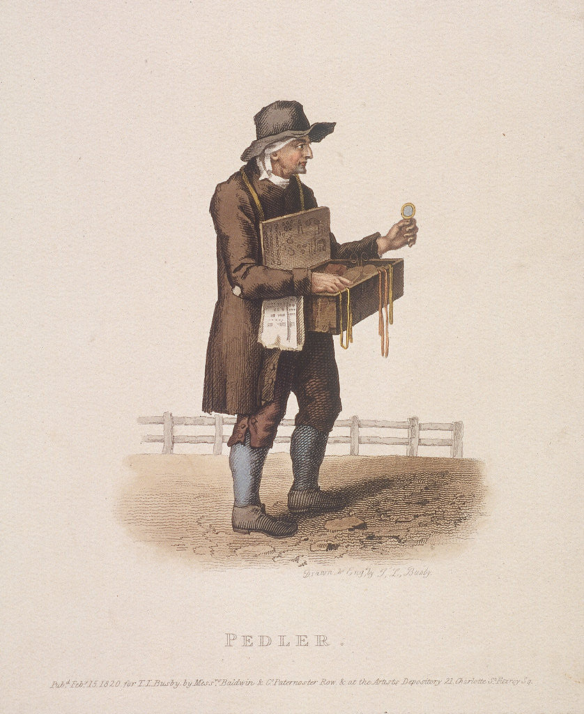 Detail of Pedlar with his box of wares hung around his neck by Thomas Lord Busby