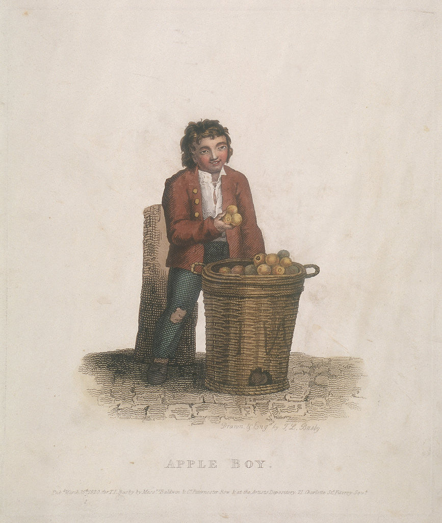 Detail of Apple seller with a large basket of fruit by Thomas Lord Busby