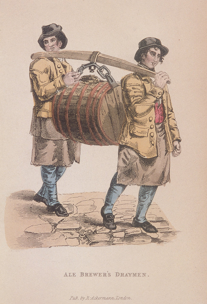 Detail of Two ale brewer's draymen carrying a barrel between them by Anonymous
