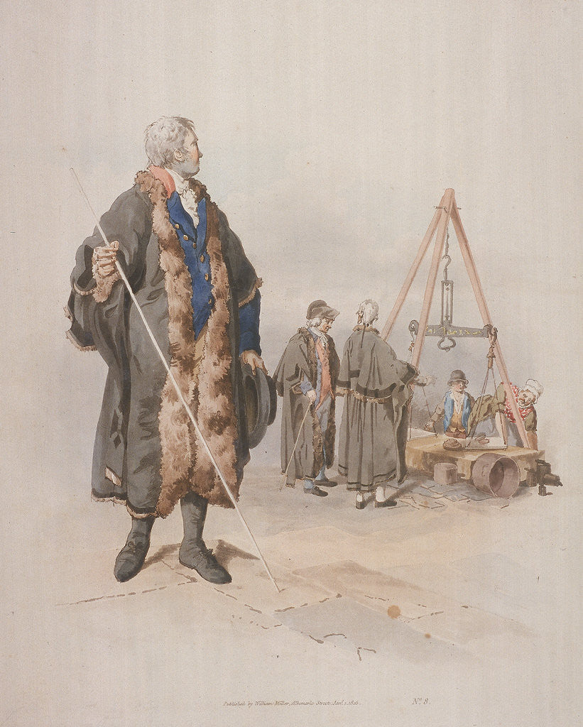 Detail of Ward Beadle in civic costume, holding a staff, at a Wardmote Inquest by William Henry Pyne