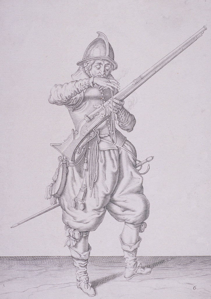 Detail of Figure in military clothing holding a musket and wearing a sword by