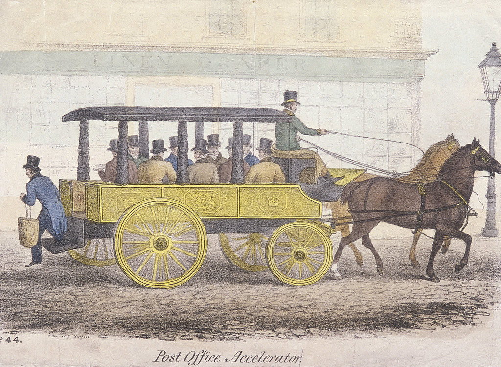 Detail of Post Office Accelerator with passengers, Holborn, London by Anonymous