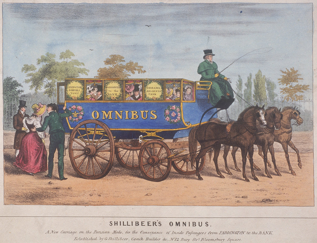 Detail of Passengers using Shillibeer's omnibus, London by Anonymous