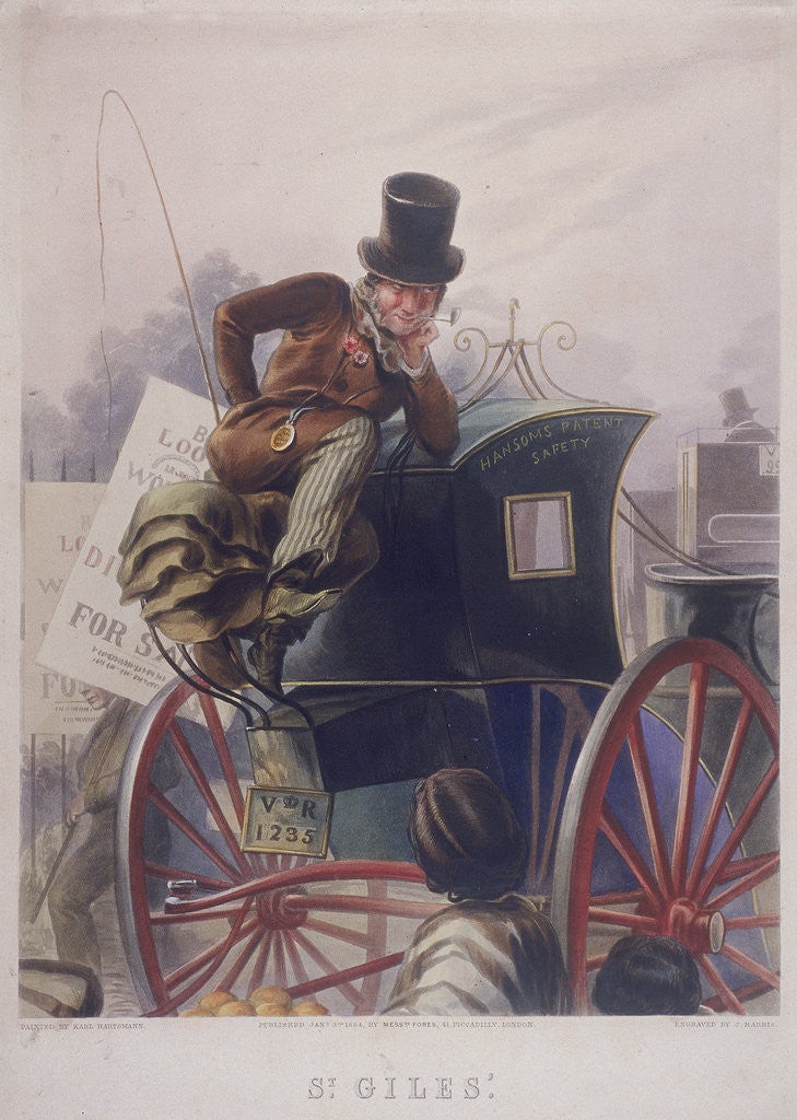 Detail of Hansom cab driver, London by J Harris