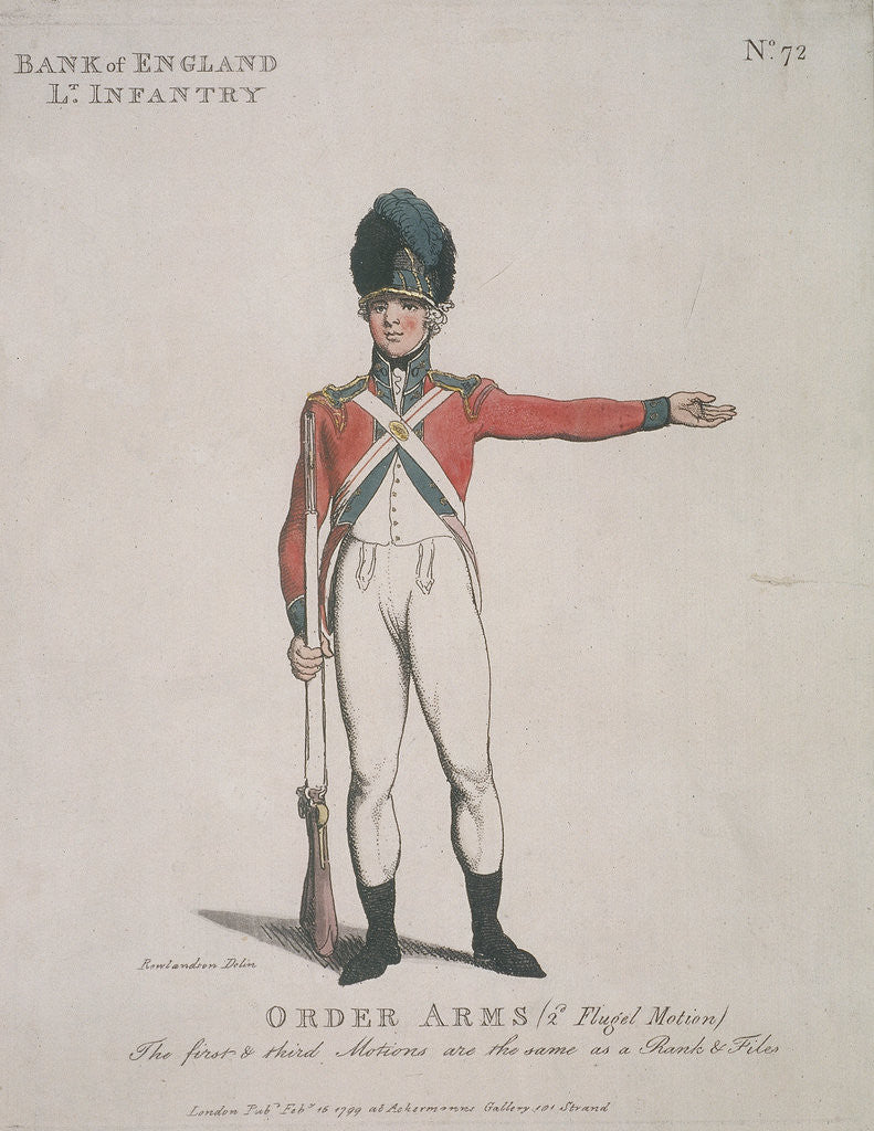 Detail of Member of the Bank of England Light Infantry holding a rifle by Anonymous