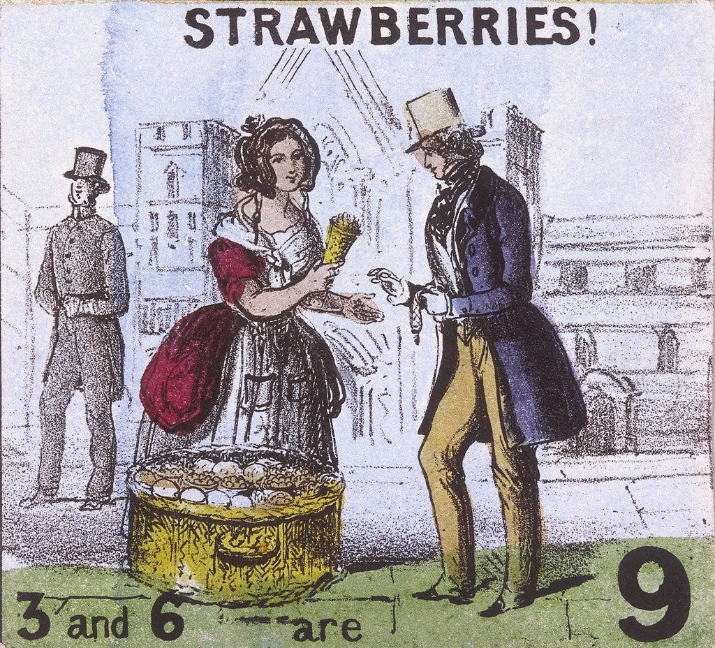 Detail of Strawberries!, Cries of London by TH Jones