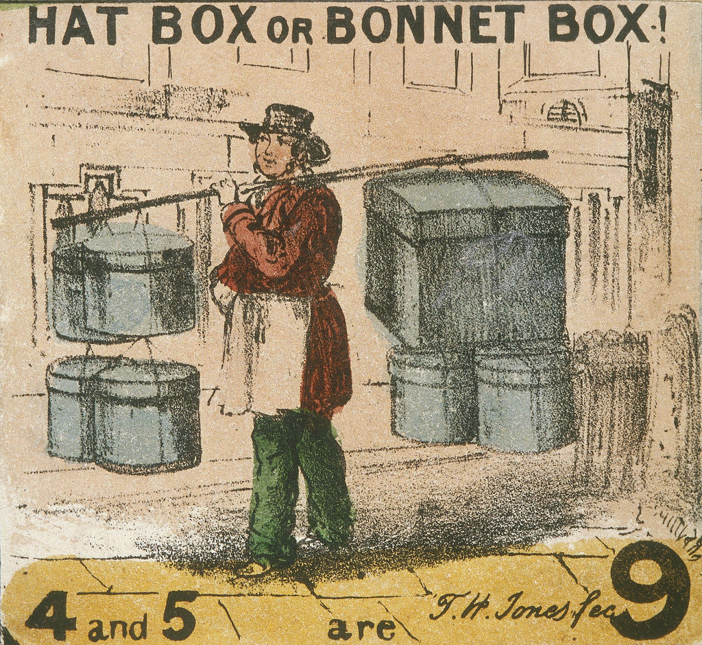 Detail of Hat Box or Bonnet Box!, Cries of London by TH Jones