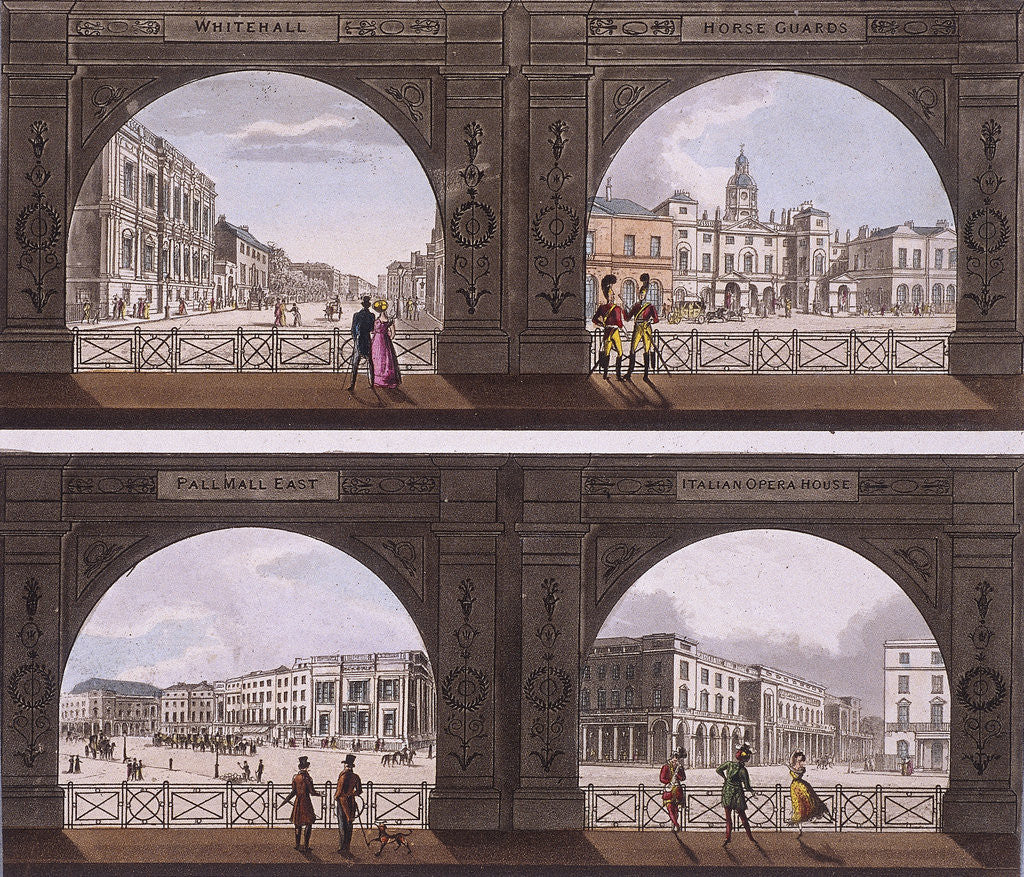 Detail of Four views of London sites seen through an arch by Anonymous