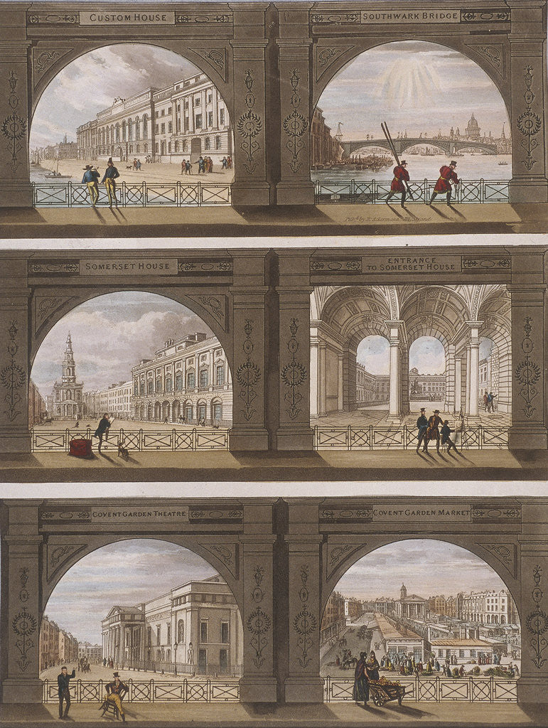 Detail of Six views of London sites seen through an arch by Anonymous
