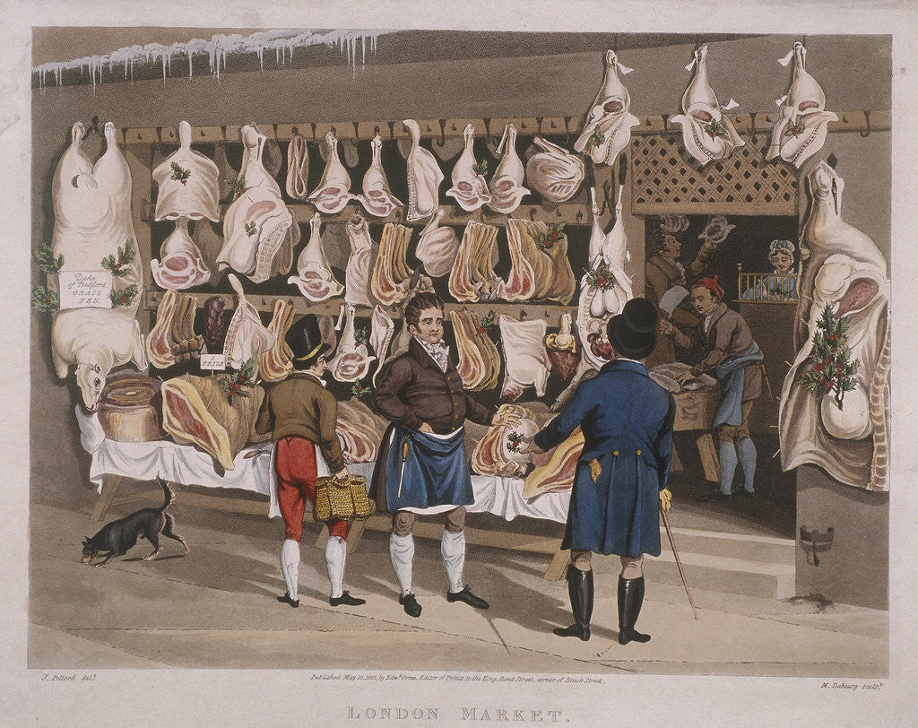 Detail of London Market'; a butchers shop by