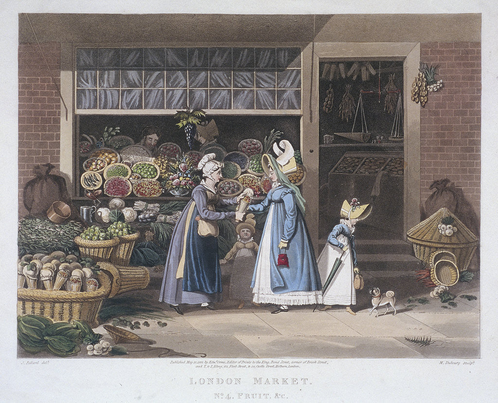Detail of London Market'; a fruit seller by Matthew Dubourg