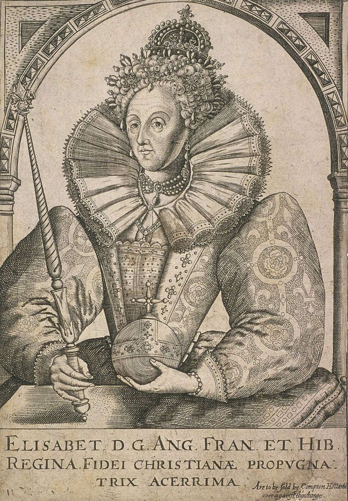 Detail of Queen Elizabeth I with sceptre and orb by Anonymous