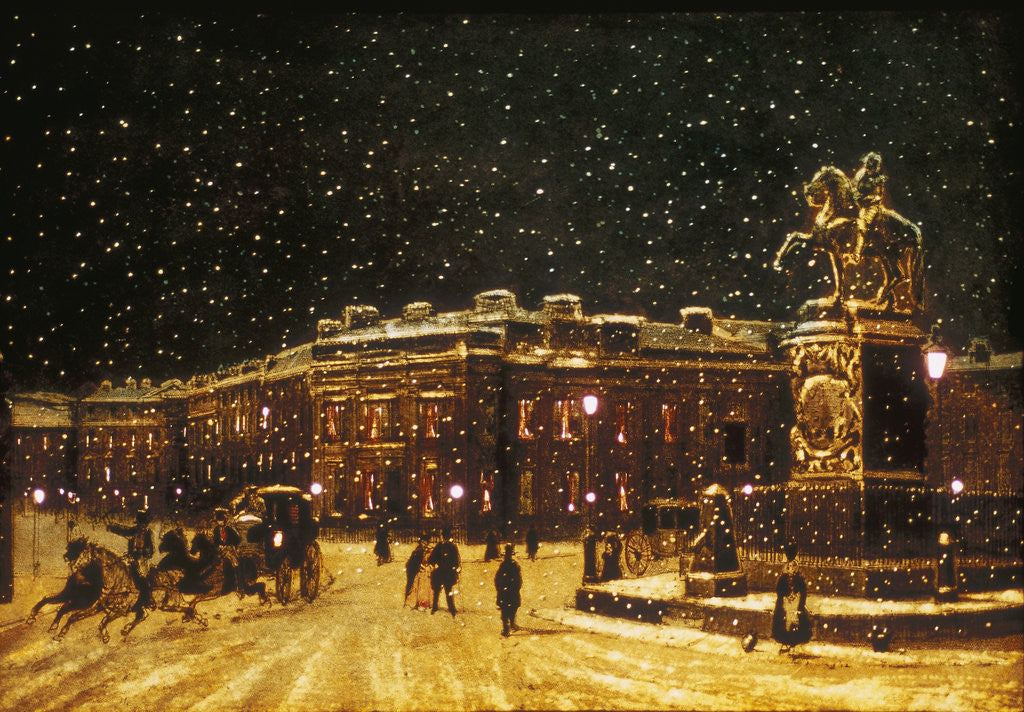 Detail of View of snow falling at Charing Cross at night by Anonymous