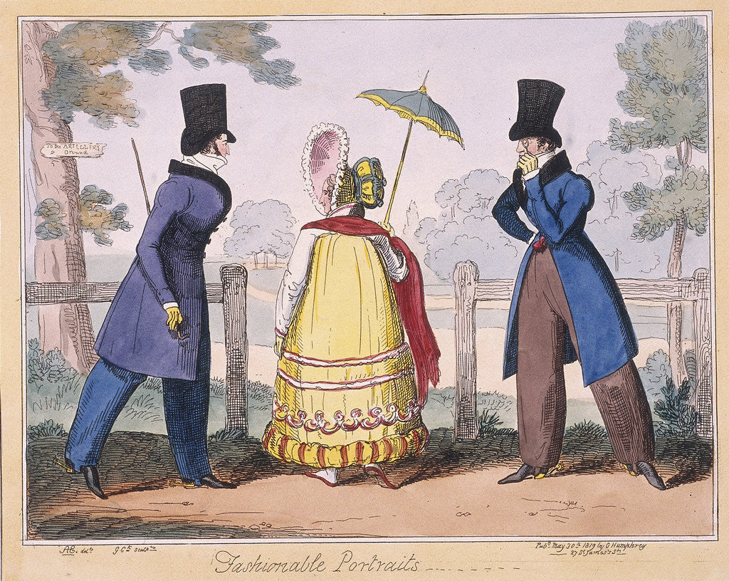 Detail of Fashionable Portraits, a scene in Hyde Park by Isaac Cruikshank