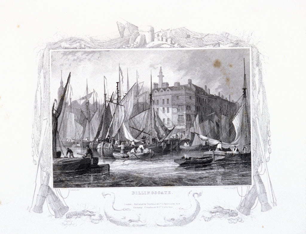 Detail of View of Billingsgate wharf with Three Tuns Public House, figures and boats, London by James Carter