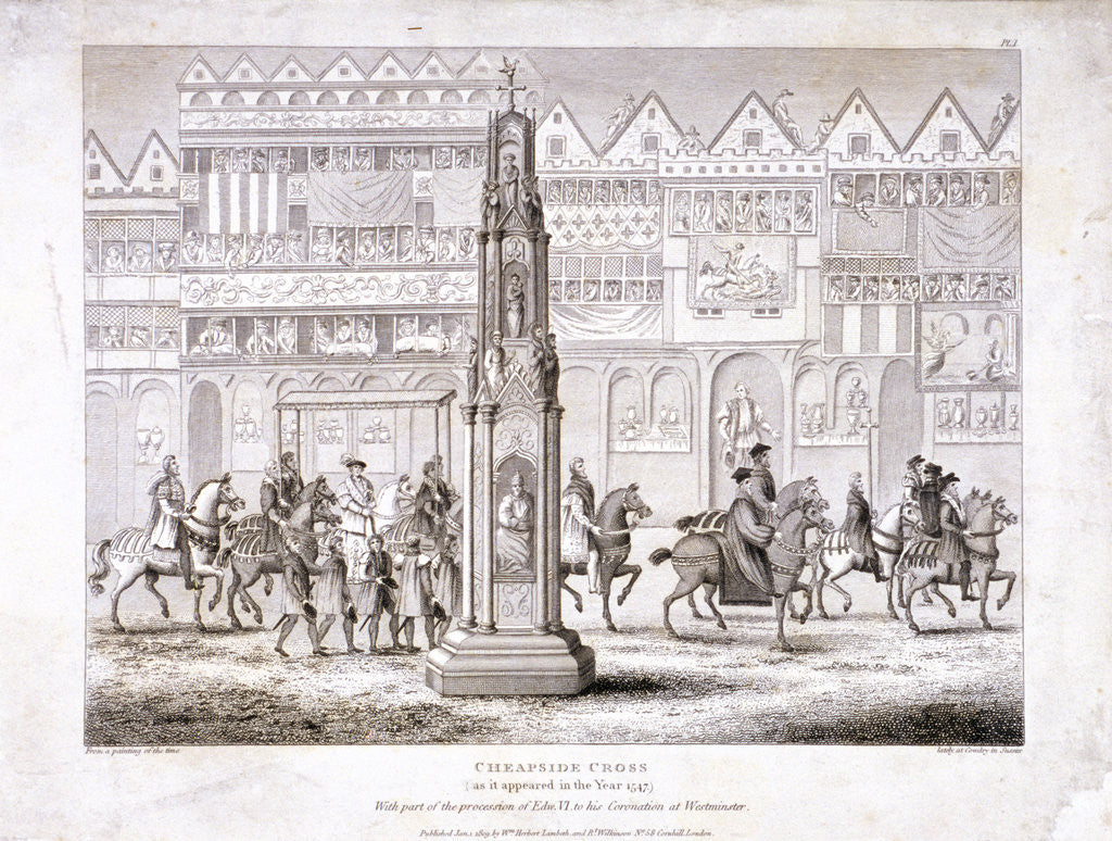 Detail of View of Cheapside Cross, London by Anonymous
