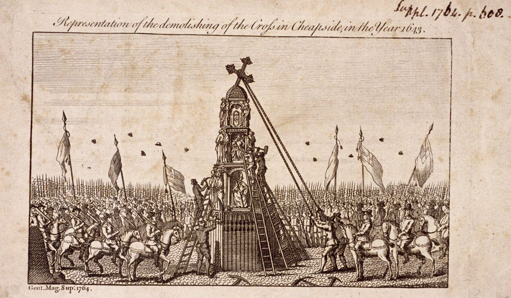 Detail of The destruction of the Cheapside Cross, London by Anonymous
