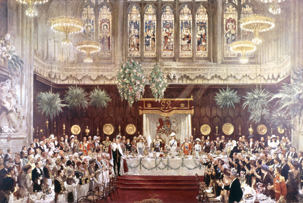 View of the Coronation luncheon for King George V and Queen Mary consort, London by