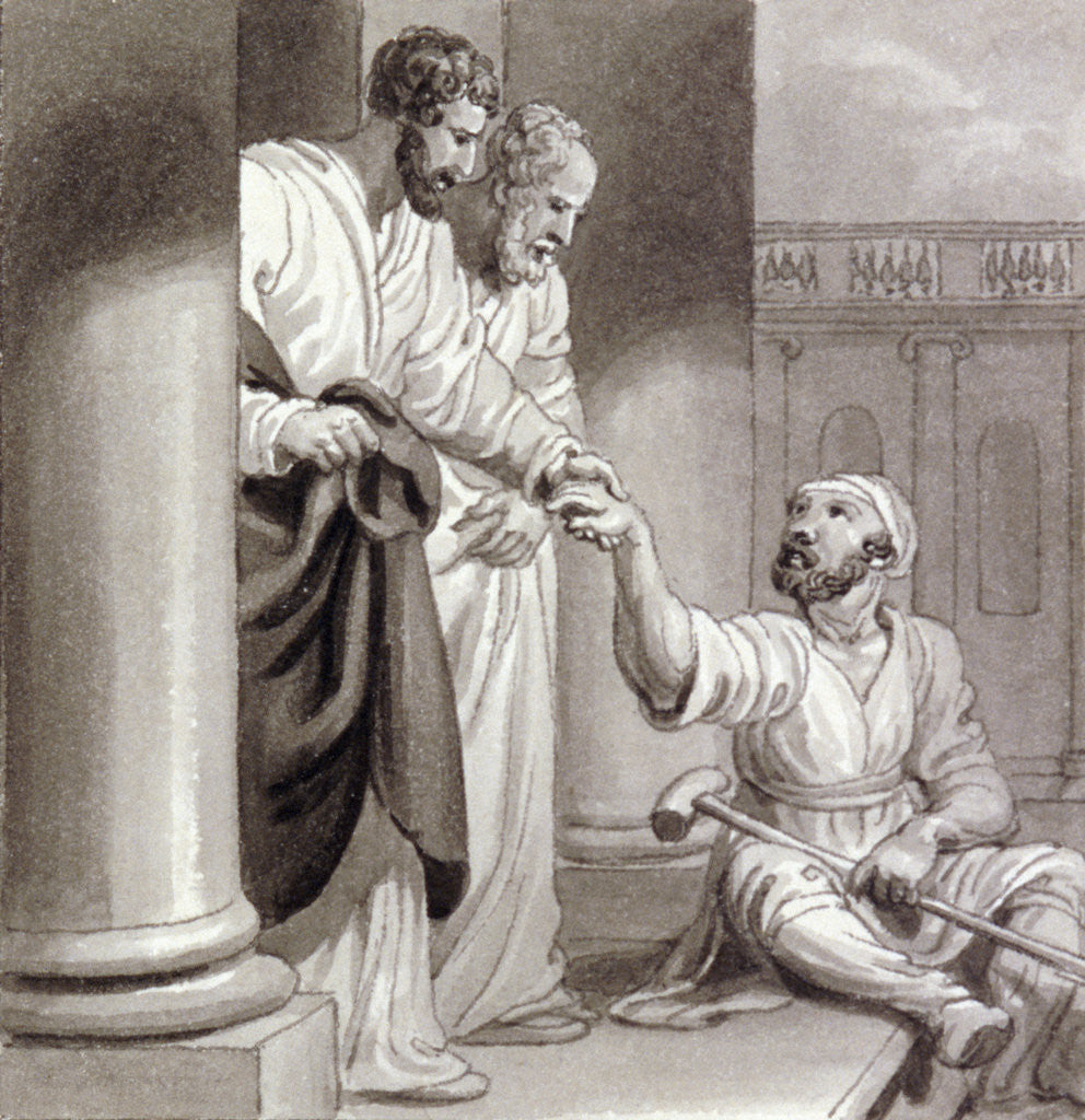 Detail of Peter and John with the Beggar at the Beautiful Gate by Henry Corbould