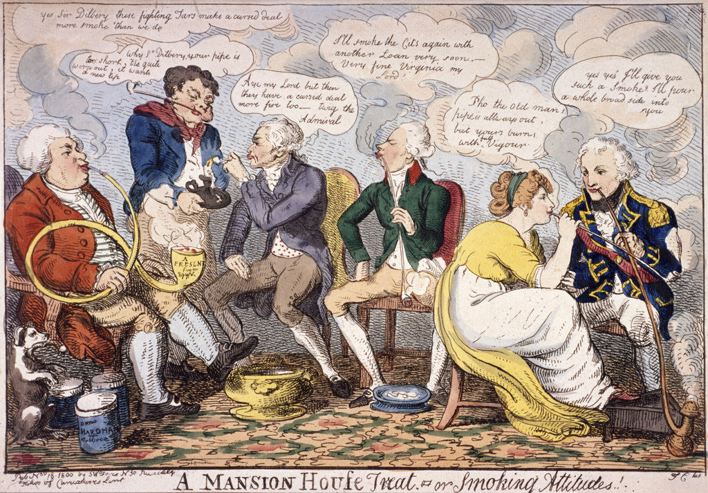 Detail of A Mansion House treat - or smoking attitudes, London by Anonymous