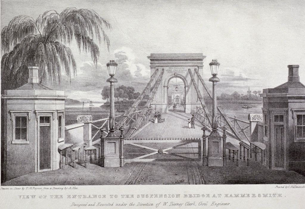 Detail of View of the entrance to the suspension bridge at Hammersmith... by Thomas Mann Baynes